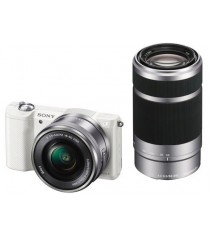 Sony Alpha A5000 with 16-50mm and 55-210mm Lens White Mirrorless Digital Camera
