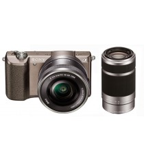 Sony Alpha A5100 ILCE-5100Y with 16-50mm and 55-210mm Brown Mirrorless Digital Camera