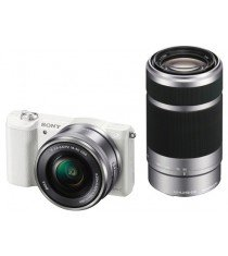 Sony Alpha A5100 ILCE-5100Y with 16-50mm and 55-210mm Lenses White Mirrorless Digital Camera